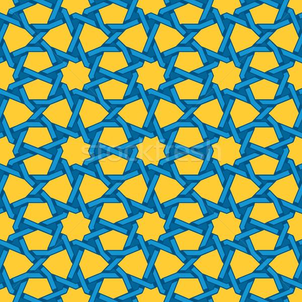 Vector Seamless Blue Yellow Islamic Interlacing Line Star Geometric Pattern Stock photo © Samolevsky