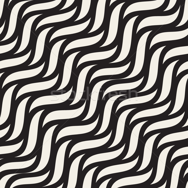 Vector Seamless Diagonal Wavy Zigzag Lines Pattern Stock photo © Samolevsky