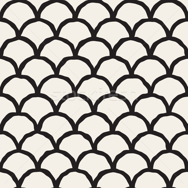Vector Seamless Black And White Hand Drawn Rounded Lines Oriental Pattern Stock photo © Samolevsky