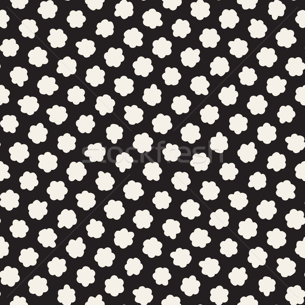 Stylish Doodle Scattered Shapes. Vector Seamless Black And White Freehand Pattern Stock photo © Samolevsky