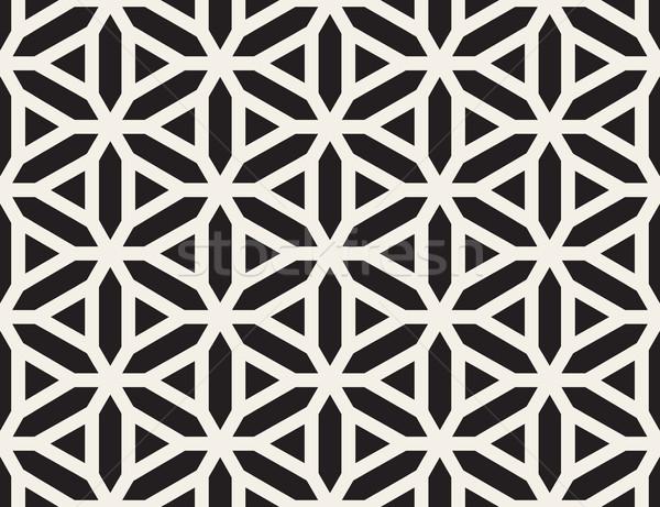 Сток-фото: вектора · бесшовный · черно · белые · линия · сетке · шаблон