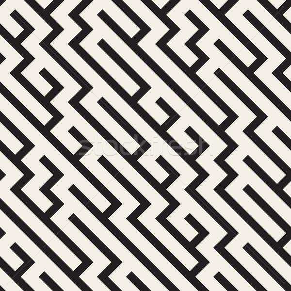 Labirinto linee vettore senza soluzione di continuità bianco nero pattern Foto d'archivio © Samolevsky