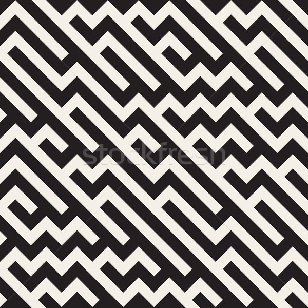 Vector Seamless Jumble ZigZag Lines Diagonal Geometric Pattern Stock photo © Samolevsky