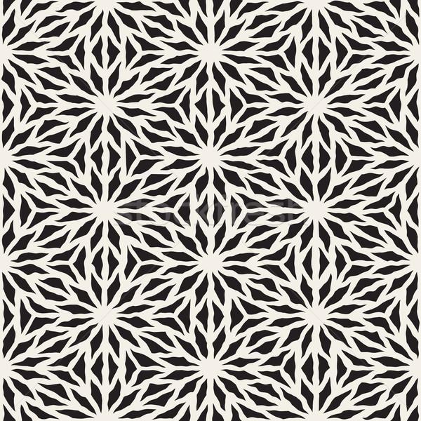 Vector Seamless Hand Painted Line Geometric Star Pattern Stock photo © Samolevsky