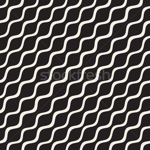 Vector Seamless Black and White Hand Drawn Diagonal Wavy Lines Pattern Stock photo © Samolevsky
