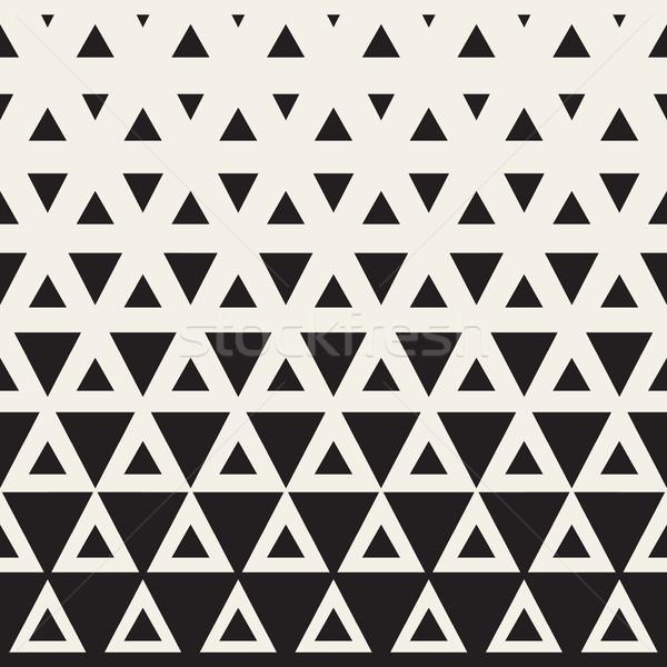 Vector Seamless Black and White Triangle Halftone Pattern Stock photo © Samolevsky
