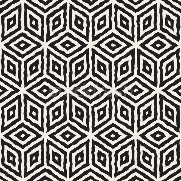 Vector Seamless Hand Painted Geometric Rhombus Lines Cubic Pattern Stock photo © Samolevsky