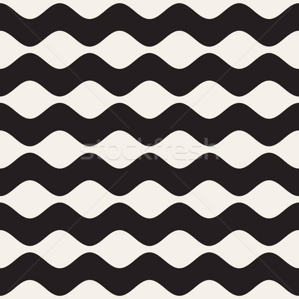 Wavy Ripple Lines. Vector Seamless Black and White Pattern. Stock photo © Samolevsky
