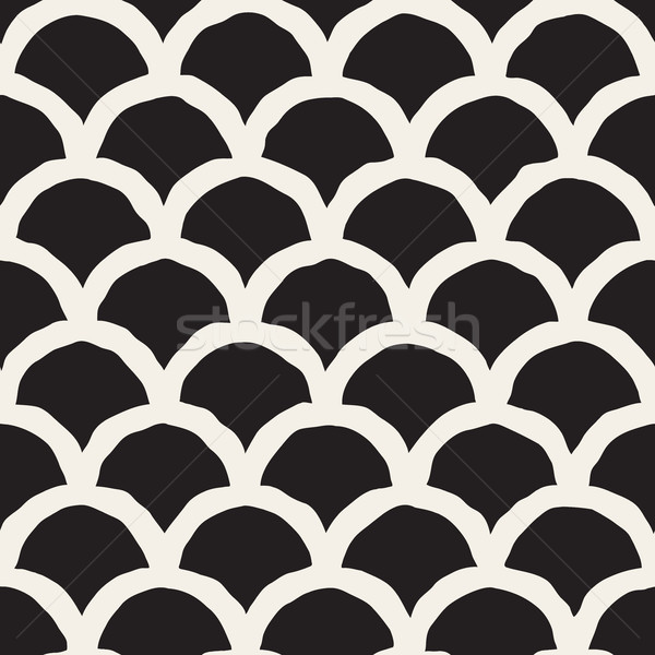 Vector Seamless Black And White Hand Drawn Rounded Lines Pattern Stock photo © Samolevsky