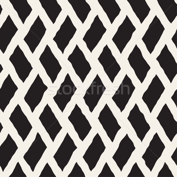 Rhombus Rough Hand Drawn Lines. Vector Seamless Black and White Pattern Stock photo © Samolevsky