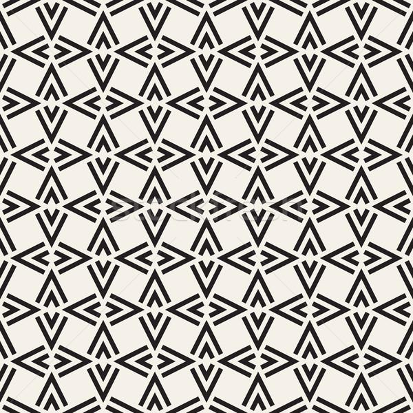 Geometric Ornament With Striped Rhombuses. Vector Seamless Monochrome Pattern Stock photo © Samolevsky