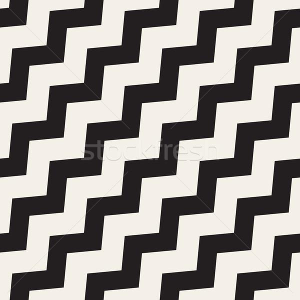 Vettore senza soluzione di continuità bianco nero zig-zag linee disegno geometrico Foto d'archivio © Samolevsky