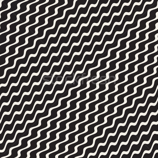 Wavy Ripple Stripes. Vector Seamless Black and White Pattern. Stock photo © Samolevsky