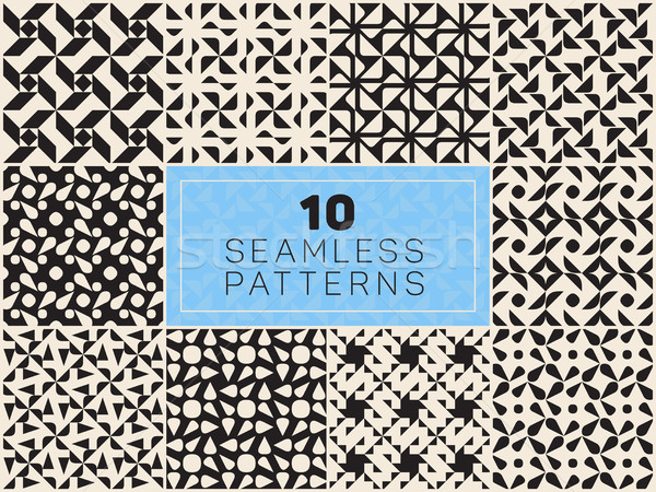 Set of Ten Vector Seamless Black and White Geometric Patterns Stock photo © Samolevsky