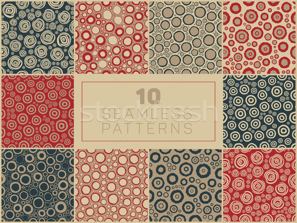 Seamless Hand Drawn Rough Circle Round Shapes Jumble Patterns Stock photo © Samolevsky