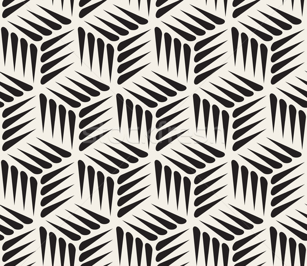 Vector Seamless Black and White Thorn Shape Cubic Geometric Pattern Stock photo © Samolevsky