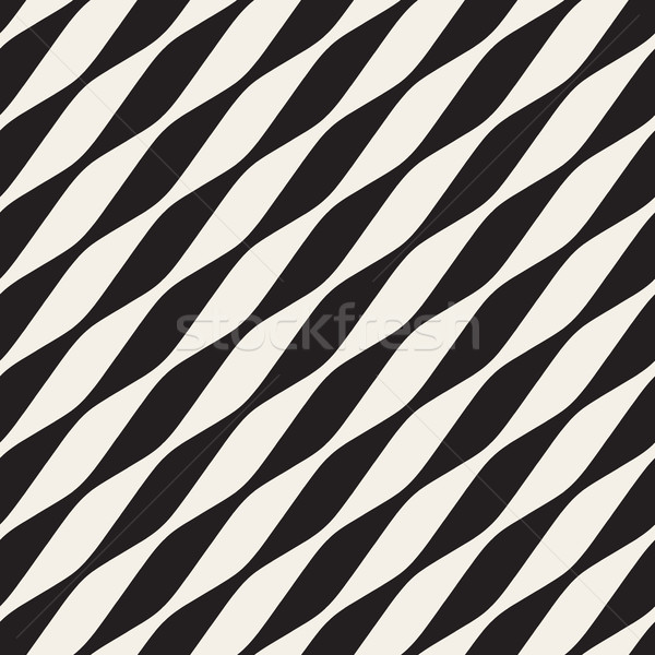 Vector Seamless Black and White Diagonal Wavy Lines Stock photo © Samolevsky