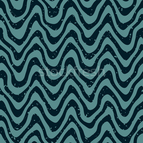 Stock photo: Vector Seamless Hand Drawn Wavy Distorted Lines Retro Pattern