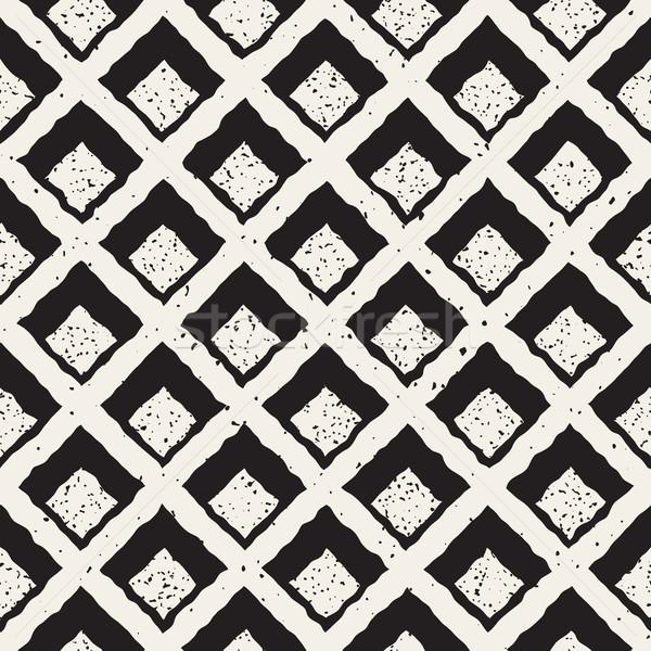 Vector Seamless Hand Painted Line   Rhombus Grid Waffel Pattern Stock photo © Samolevsky