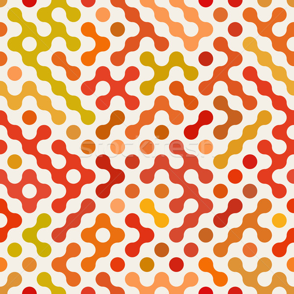 Vector Seamless Multicolor Red Orange Rounded Circular Shape Irregular Pattern Stock photo © Samolevsky