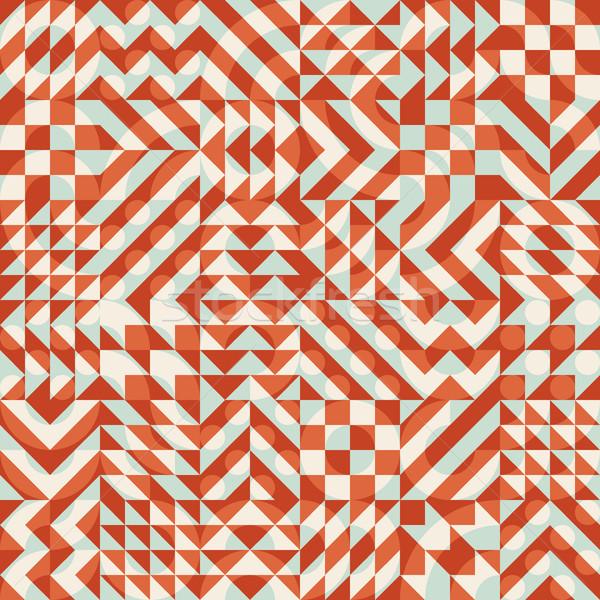 Vector Seamless Color Overlay Irregular Geometric Blocks Square Quilt Pattern Stock photo © Samolevsky