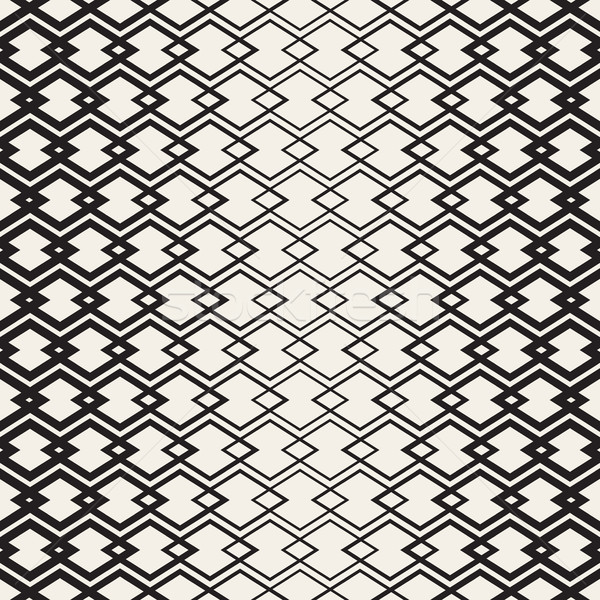 Rhombus Overlapping Lines Lattice. Vector Seamless Black and White Pattern. Stock photo © Samolevsky