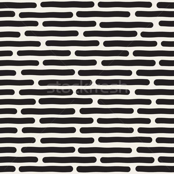 Vector Seamless Black And White Hand Drawn Horizontal Lines Pattern Stock photo © Samolevsky