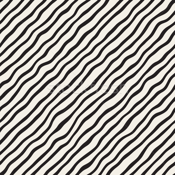 Vector Seamless Black and White Hand Drawn Diagonal Wavy Lines Pattern Stock photo © Samolevsky
