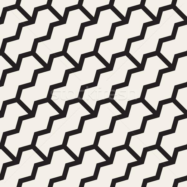 Zigzag vector naadloos zwart wit Stockfoto © Samolevsky