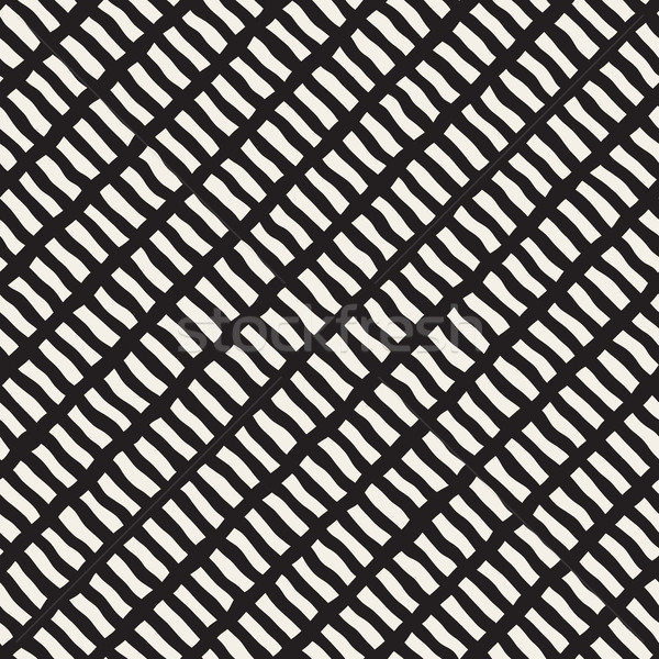Vector Seamless Hand Drawn Diagonal Lines Rectangles Pattern Stock photo © Samolevsky