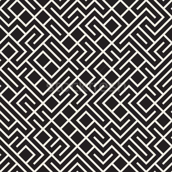 Vektör siyah beyaz labirent hatları model Stok fotoğraf © Samolevsky