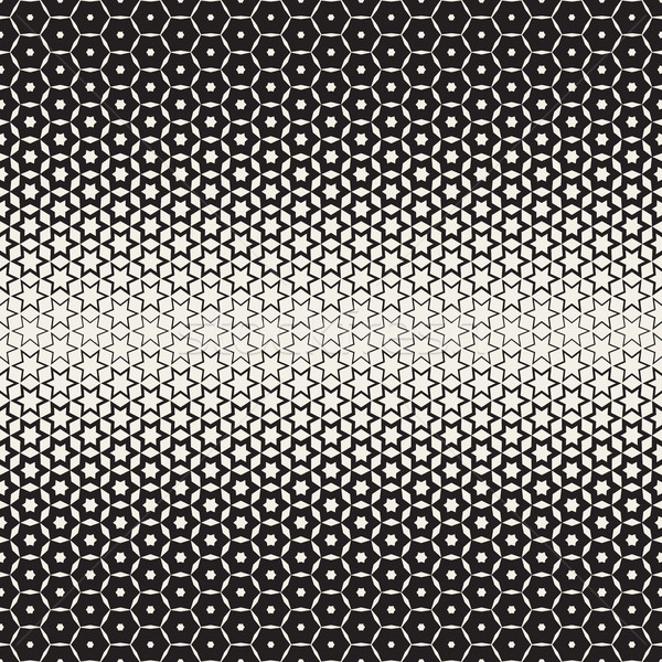 Hexagon Star Shapes Blend Halftone Lattice. Vector Seamless Black and White Pattern. Stock photo © Samolevsky