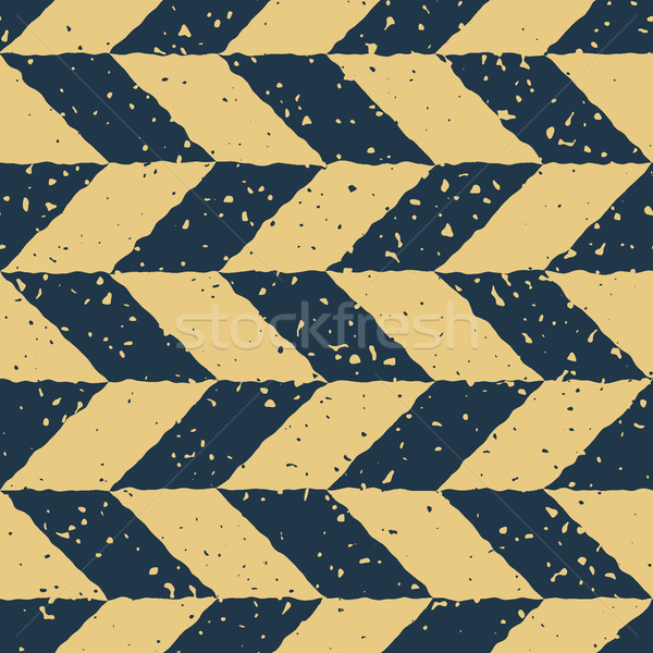 Vector Seamless Blue Yellow Color Hand Drawn Checker Distorted Parallelograms Grungy Retro Pattern Stock photo © Samolevsky