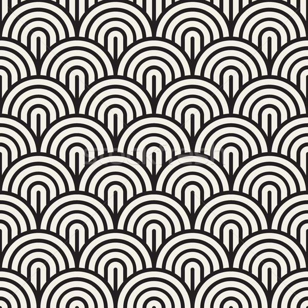 Vector Seamless Black and White Rounded Arc Concentric Circles Pattern Stock photo © Samolevsky