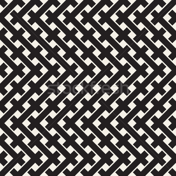 Weave Seamless Pattern. Braiding Background of Intersecting Stripes Lattice. Black and White Geometr Stock photo © Samolevsky