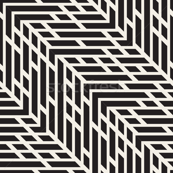 Vector Seamless Black And White Jumble ZigZag Lines Diagonal Pattern Stock photo © Samolevsky