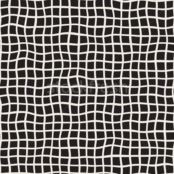 Wavy Hand Drawn Lines Square Grid. Vector Seamless Black and White Pattern. Stock photo © Samolevsky
