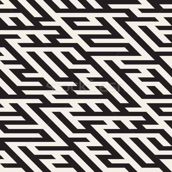 Foto stock: Vetor · sem · costura · labirinto · diagonal · linha · geométrico
