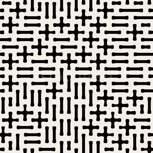 Seamless Black White Vector Geometric Plus Minus Shape Pattern Stock photo © Samolevsky