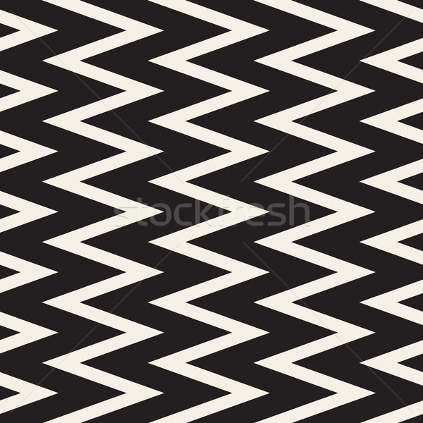 Vector Seamless Black and White ZigZag Vertical Lines Geometric Pattern Stock photo © Samolevsky