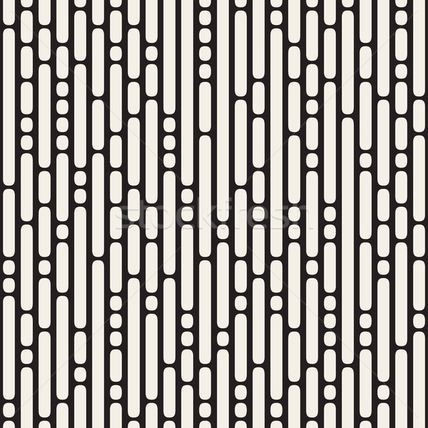 Vector Seamless Black and White Irregular Rounded Dash Lines Pattern Stock photo © Samolevsky