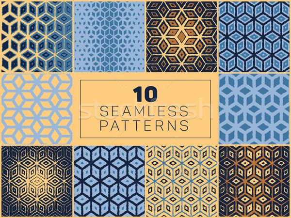 Vecteur géométrique grille en demi-teinte modèles Photo stock © Samolevsky