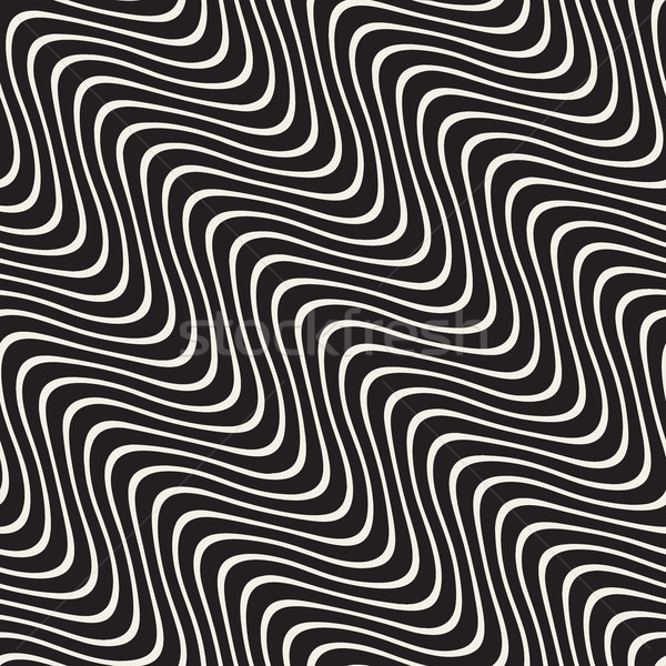Hand Drawn Wavy Diagonal Lines. Vector Seamless Black and White Pattern. Stock photo © Samolevsky