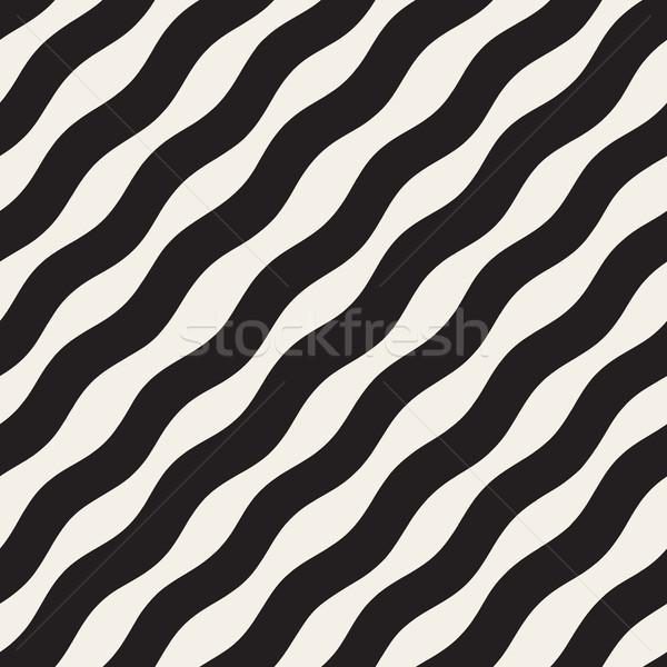 Wavy Ripple Hand Drawn Gradient Lines. Vector Seamless Black and White Pattern. Stock photo © Samolevsky