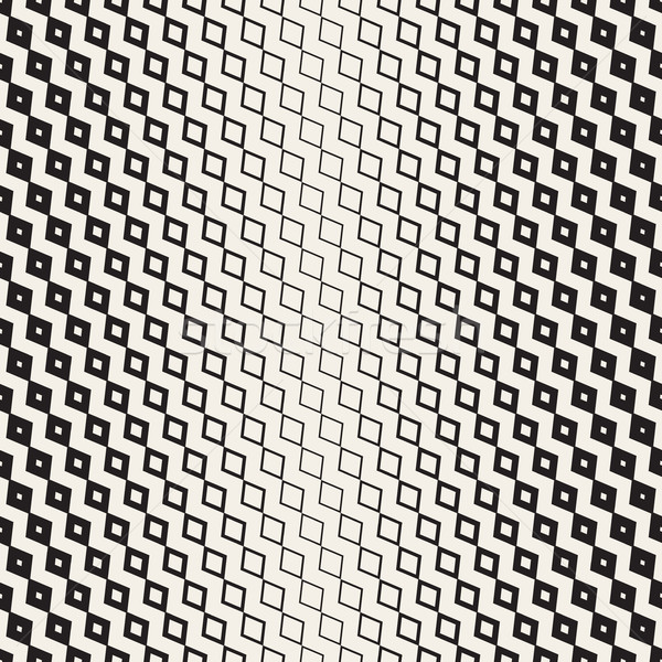 Halftone Gradient Mosaic Lattice. Vector Seamless Black and White Pattern. Stock photo © Samolevsky
