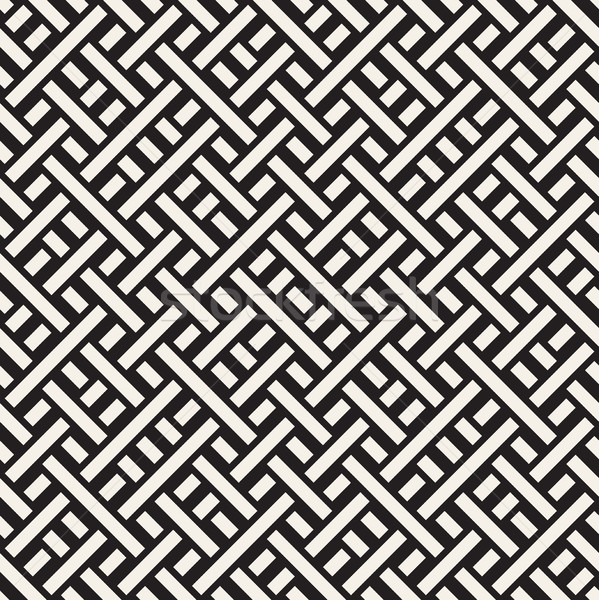 Interlacing Lines Maze Lattice. Ethnic Monochrome Texture. Vector Seamless Black and White Pattern Stock photo © Samolevsky