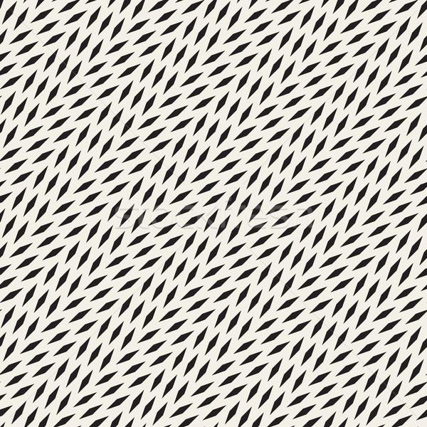 Vector Seamless Black And White Diagonal Lines Halftone Rectangles Pattern Stock photo © Samolevsky