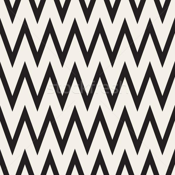 Vetor sem costura preto e branco ziguezague horizontal linhas Foto stock © Samolevsky