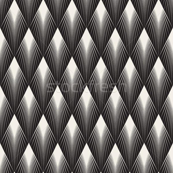 Vector Seamless Rhombus Shape Sunburst Lines Geometric Pattern Stock photo © Samolevsky