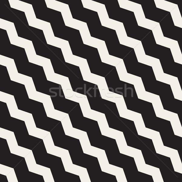 ベクトル シームレス 黒白 ジグザグ 対角線 行 ストックフォト © Samolevsky